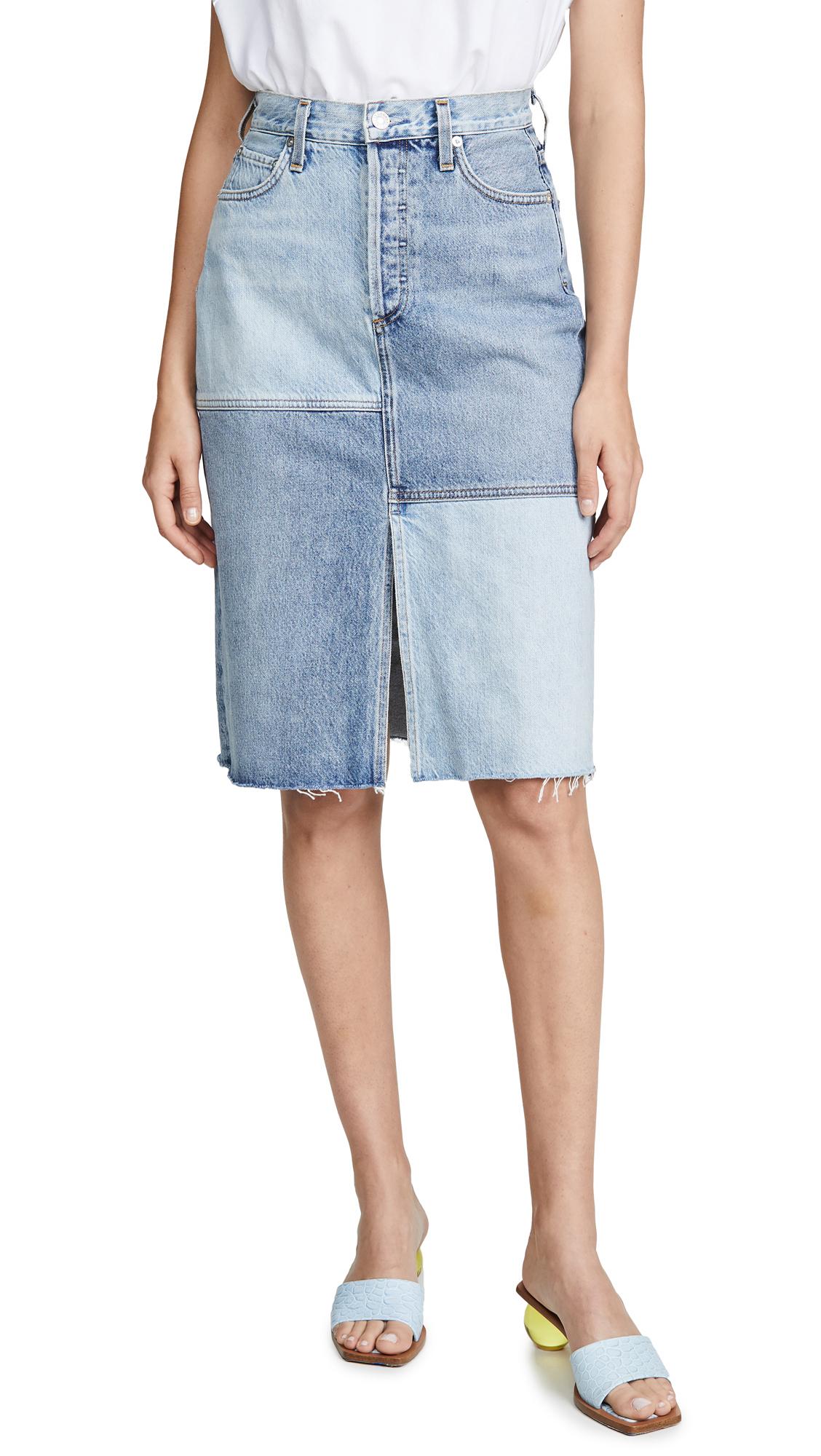 AGOLDE Issa High Rise Long Slit Skirt - Hazard
