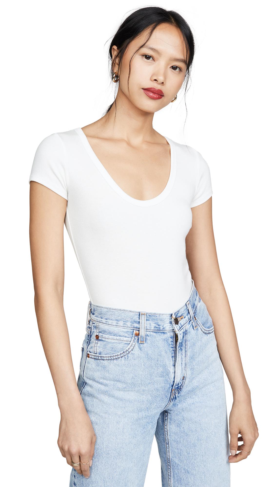 AGOLDE Short Sleeve Rib Thong Bodysuit - White