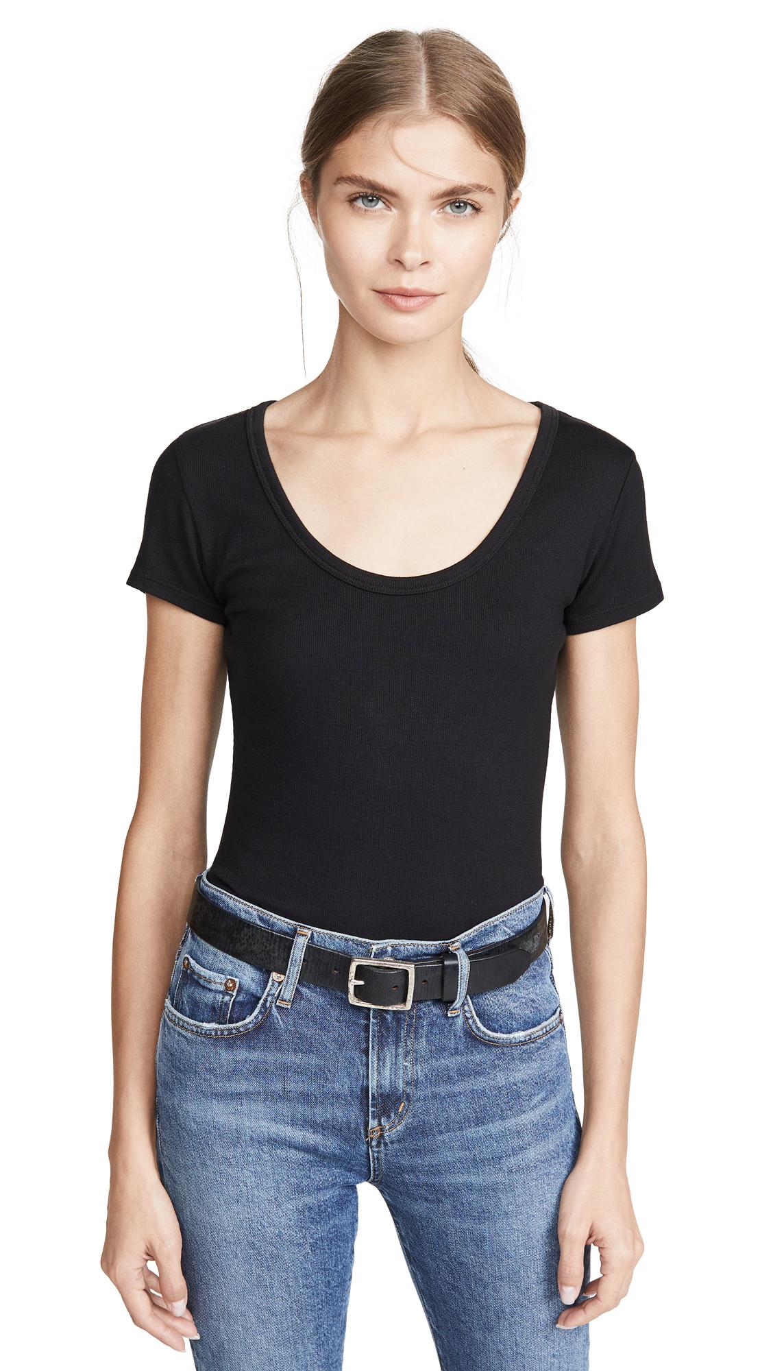 AGOLDE Short Sleeve Rib Thong Back Bodysuit - Black