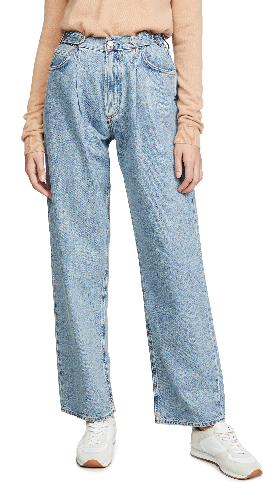 Buy AGOLDE online - photo of AGOLDE Mid Rise Pleated Baggy Jeans