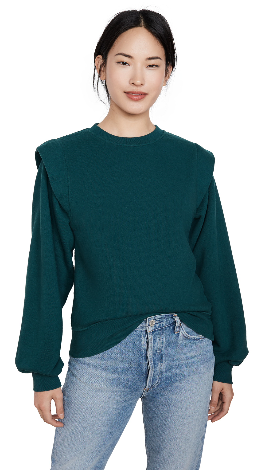 Buy AGOLDE online - photo of AGOLDE 80'S Pleated Shoulder Sweatshirt