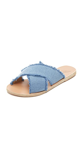 ANCIENT GREEK SANDALS Thais Metallic Leather Crossover Sandals in Blue