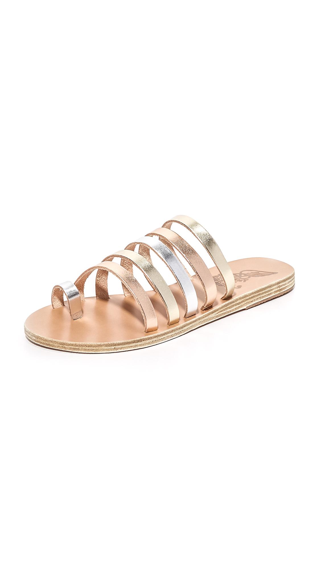 Ancient Greek Sandals Niki Slides - Pink Metal/Silver/Platinum