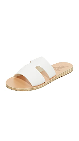 Ancient Greek Sandals Apteros Slides - White