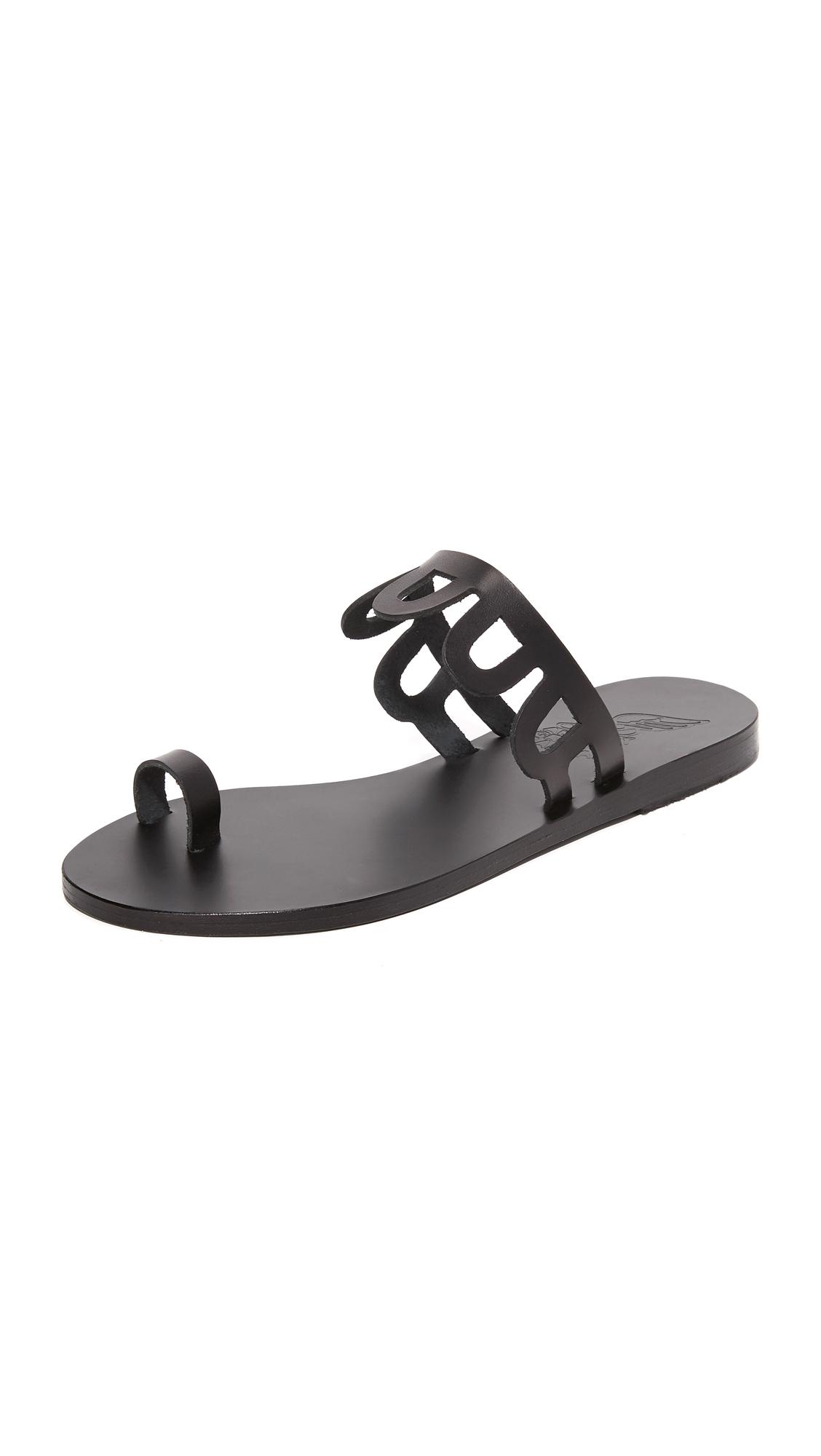 Ancient Greek Sandals Venus Toe Ring Slides - Black at Shopbop