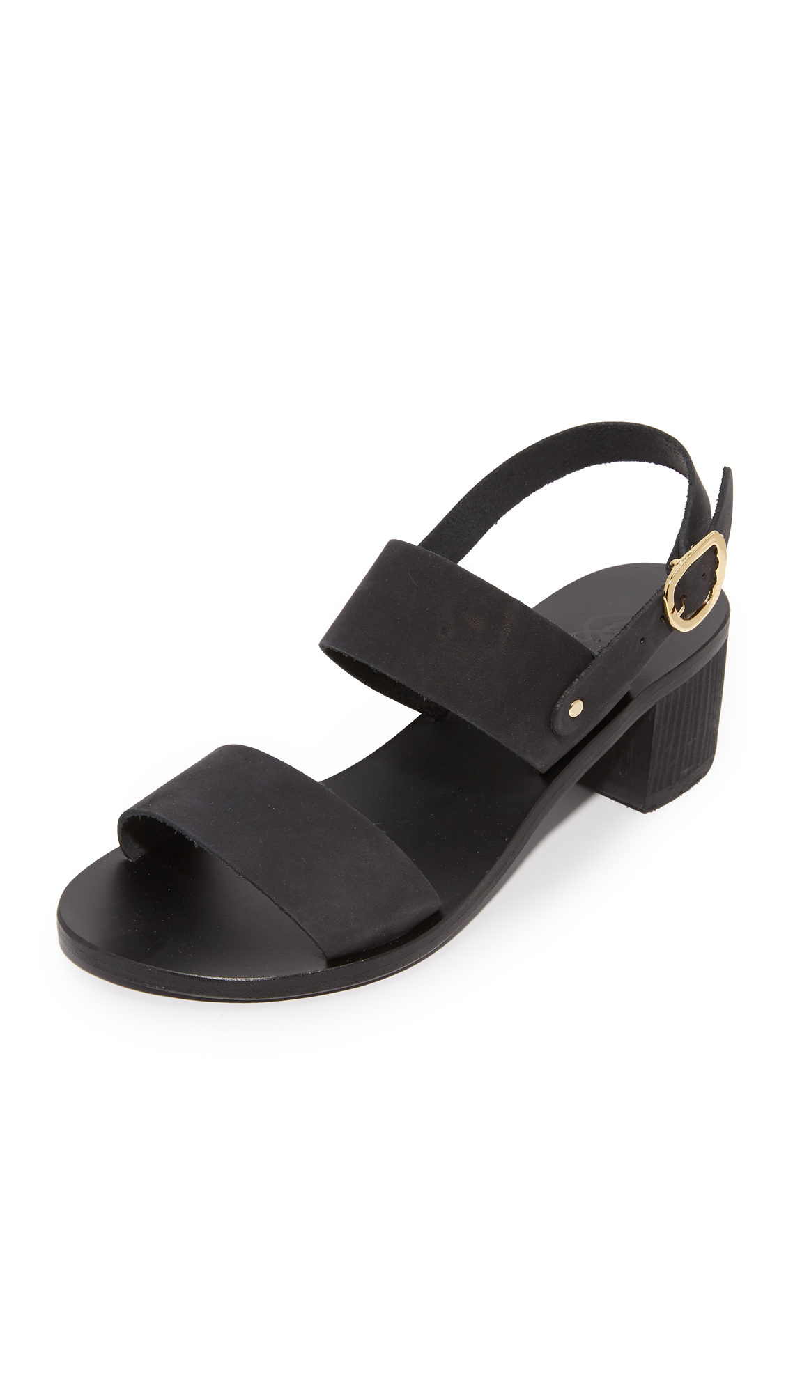 Ancient Greek Sandals Lefki Block City Sandals - Black
