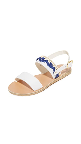 Ancient Greek Sandals Dinami Rafia Sandals - White/Blue Flowers