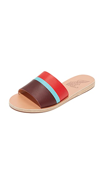 Ancient Greek Sandals Taygete Slides In Red/Turquoise/Burgundy
