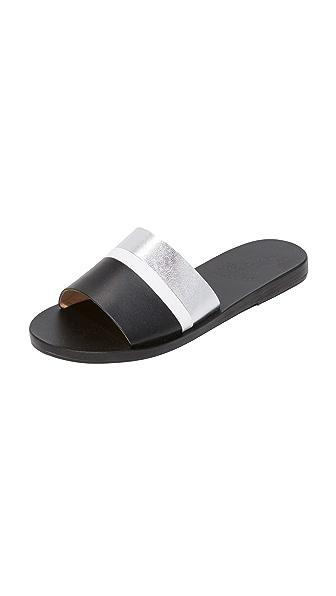 Ancient Greek Sandals Taygete Slides - Silver/White/Black