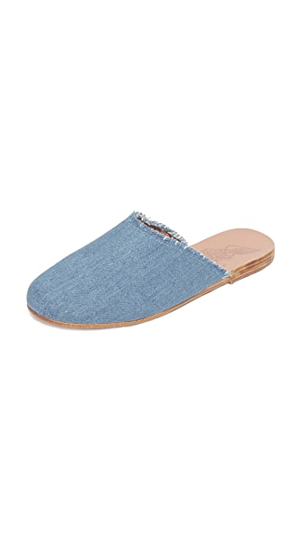 Ancient Greek Sandals Pasoumi Slides - Light Denim