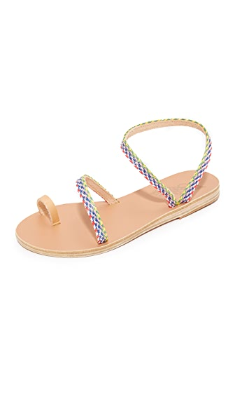 Ancient Greek Sandals Alpi Eleftheria Rafia Sandals - Natural/Multi Stripes