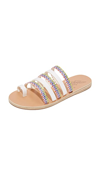 Ancient Greek Sandals Niki Rafia Slides - White/Multi Stripes