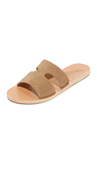 Ancient Greek Sandals Apteros Slides - Camel