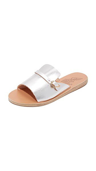 Ancient Greek Sandals Kaloniki Slides - Silver