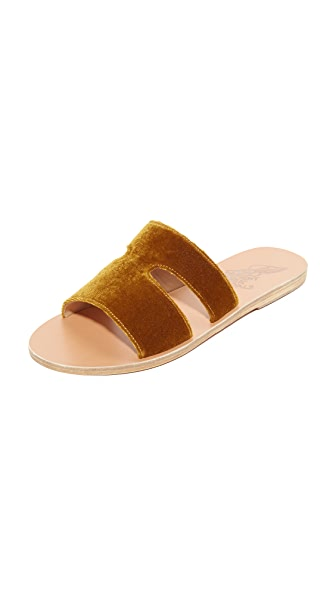 Ancient Greek Sandals Apteros Slides - Mustard