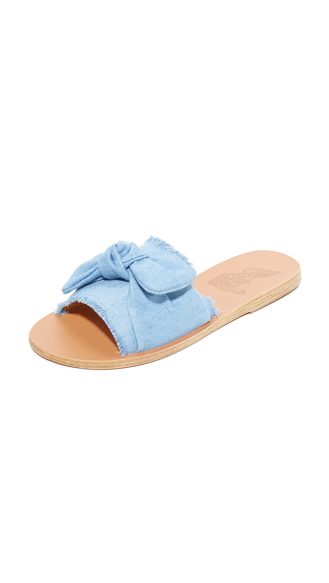 Ancient Greek Sandals Taygete Bow Slides - Light Denim