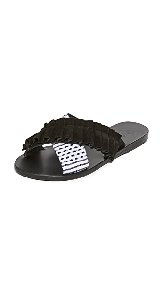 Ancient Greek Sandals Ancient Greek Sandals x Lem Lem Thais Frils Slides - Black/Stripe