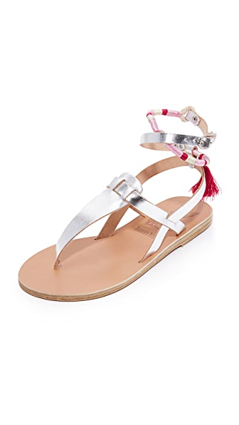 Ancient Greek Sandals x Lem Lem Estia Wrap Sandals - Silver/Pink