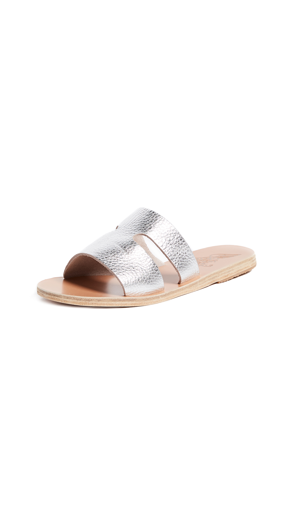 Ancient Greek Sandals Apteros Slide Sandals - Metal Silver
