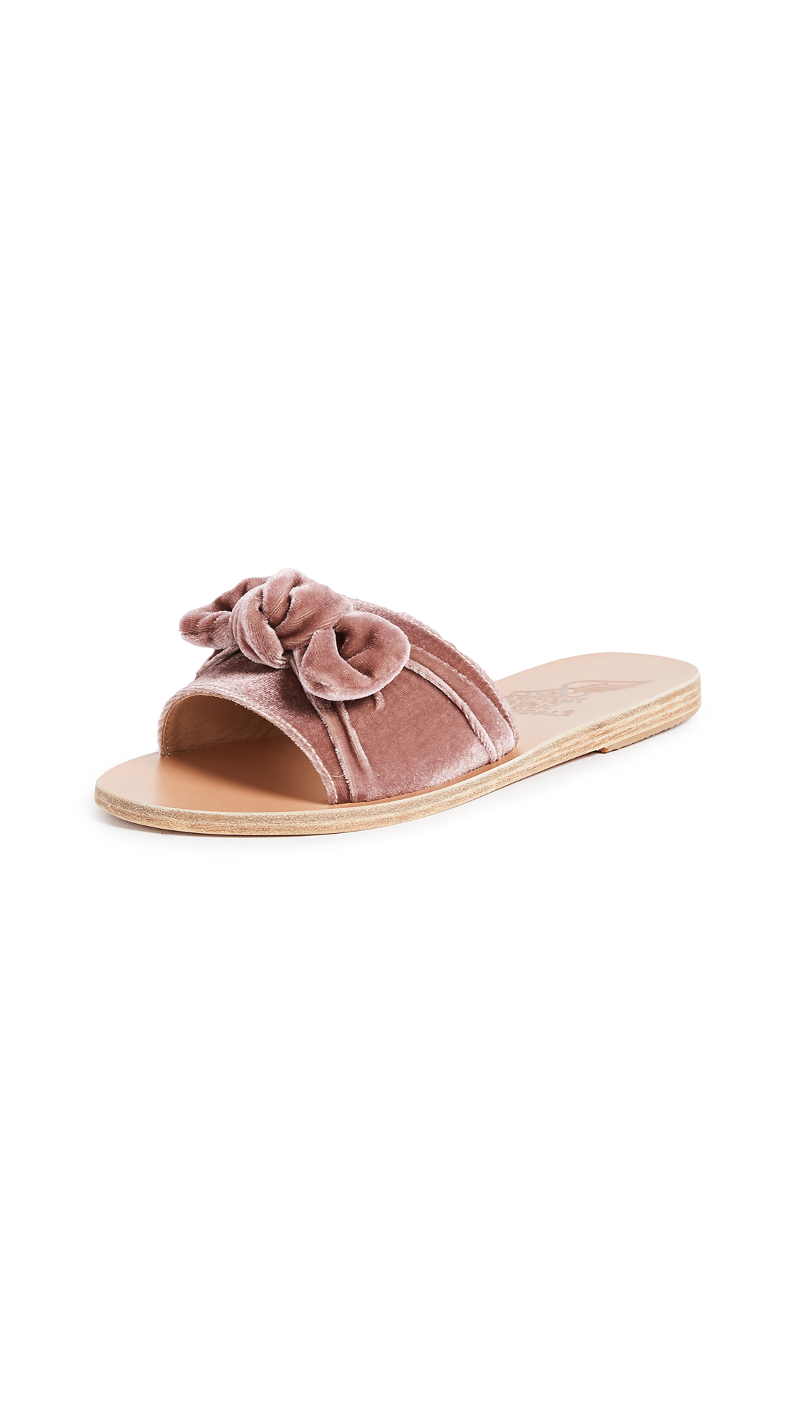 Ancient Greek Sandals Taygete Bow Slide Sandals - Aubergine