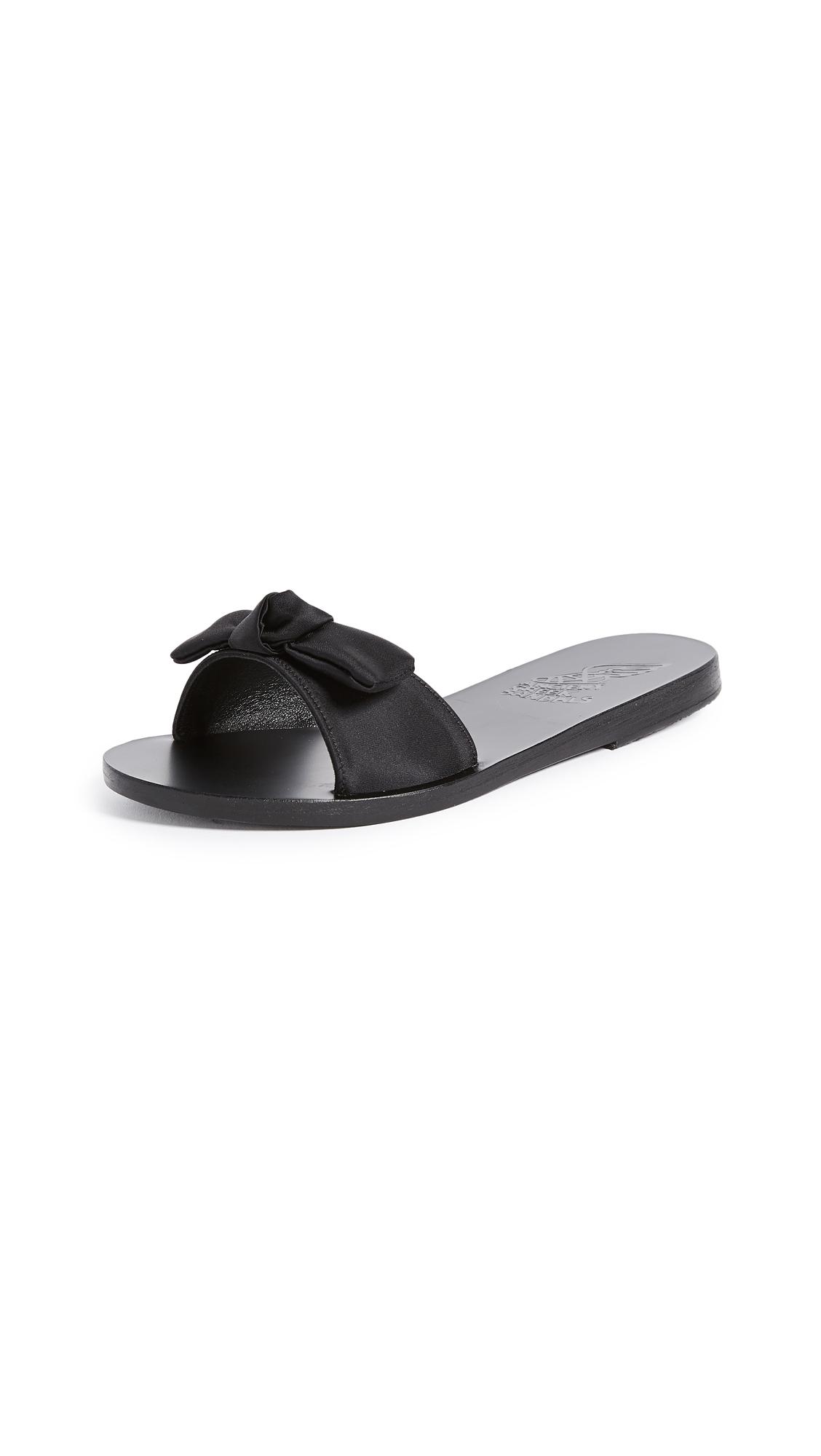 Ancient Greek Sandals Alki Bow Slide Sandals - Black/Black