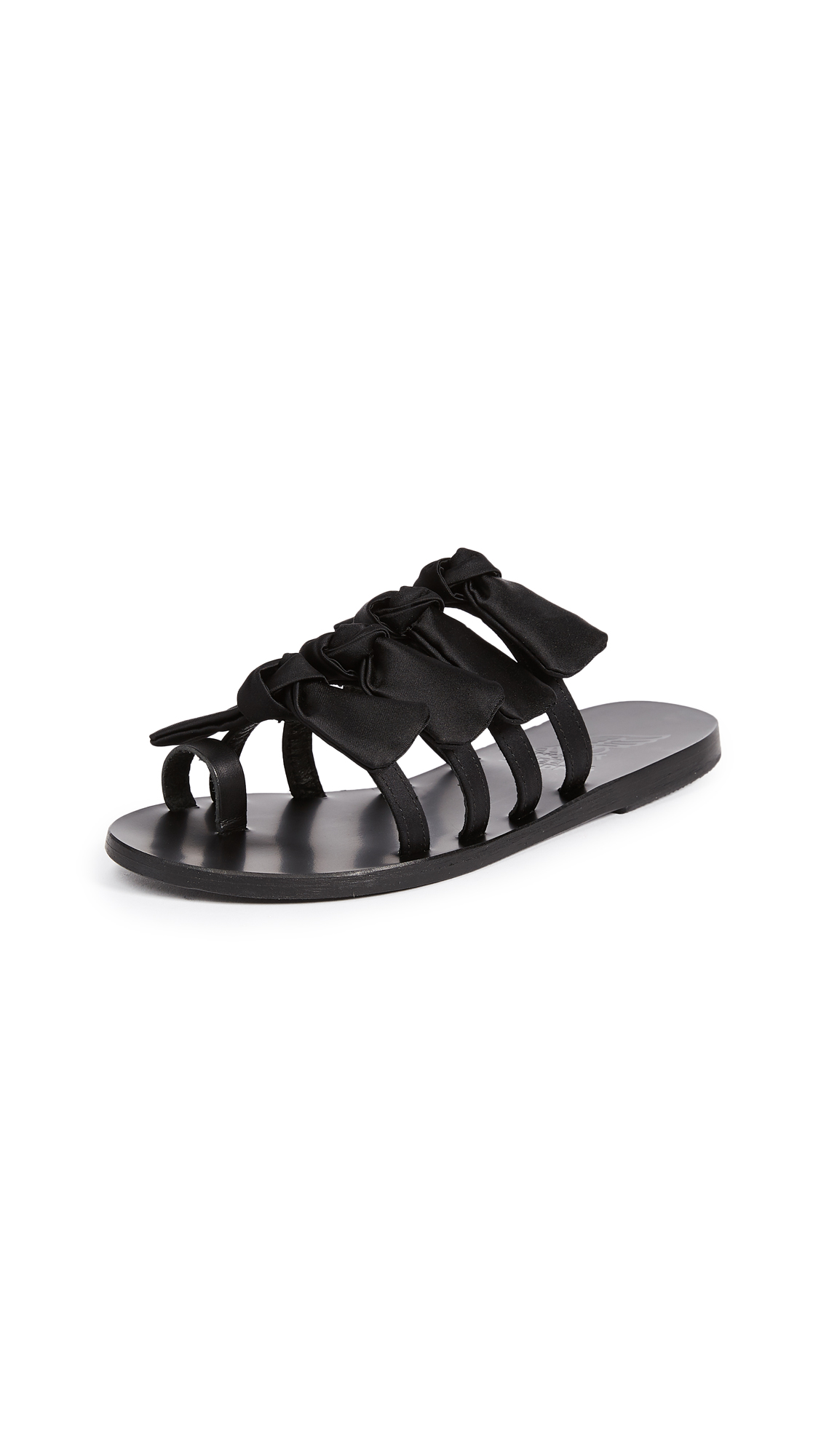 Ancient Greek Sandals Hara Bow Slide Sandals - Black/Black