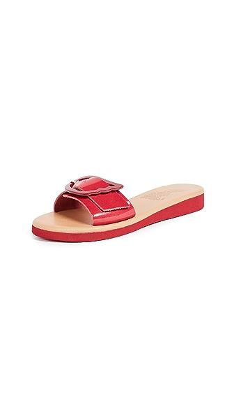 Ancient Greek Sandals Aglaia Buckle Slides In Fuchsia