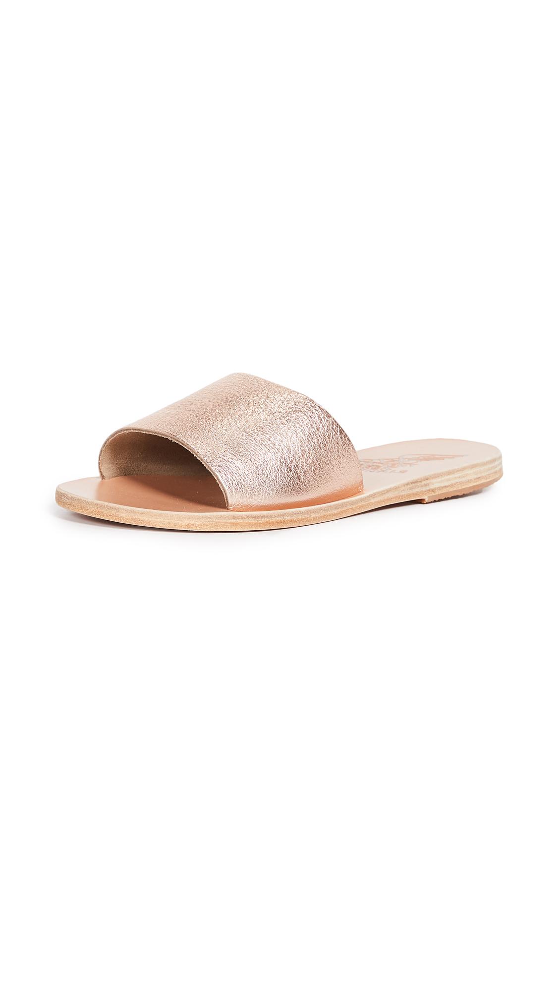 Ancient Greek Sandals Taygete Slides - Pink Metal/Sand