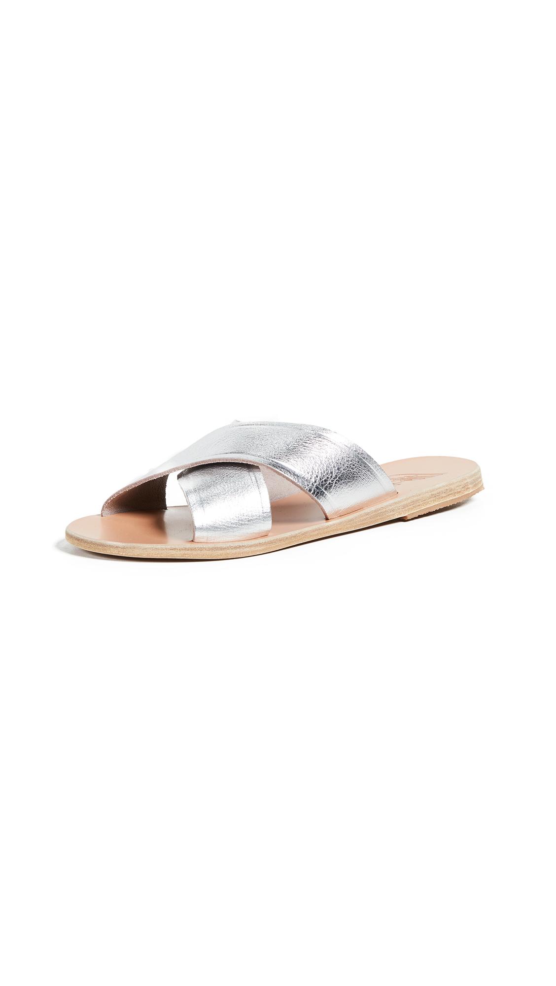 Ancient Greek Sandals Thais Crisscross Slides - Metal Silver