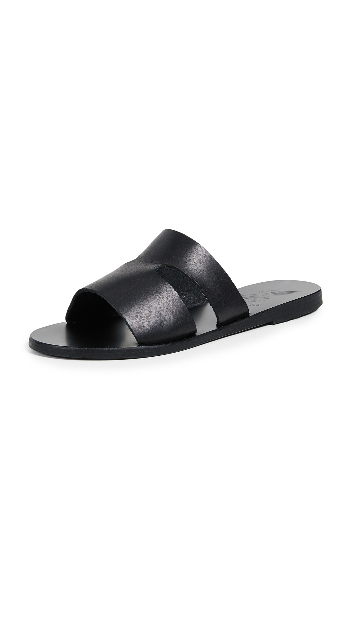 Ancient Greek Sandals Apteros Slides - Black