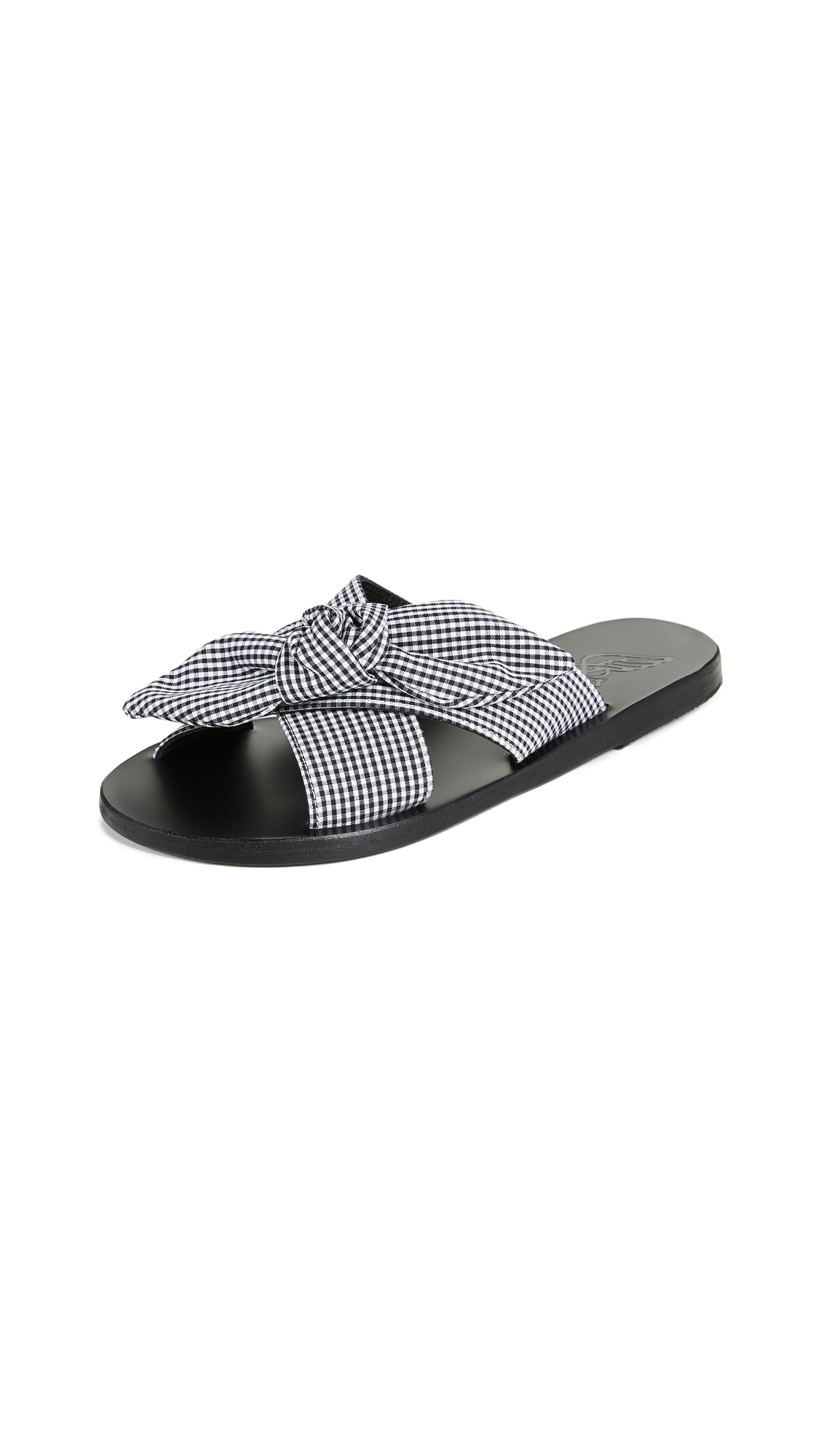 Ancient Greek Sandals Thais Bow Slides - Gingham Black