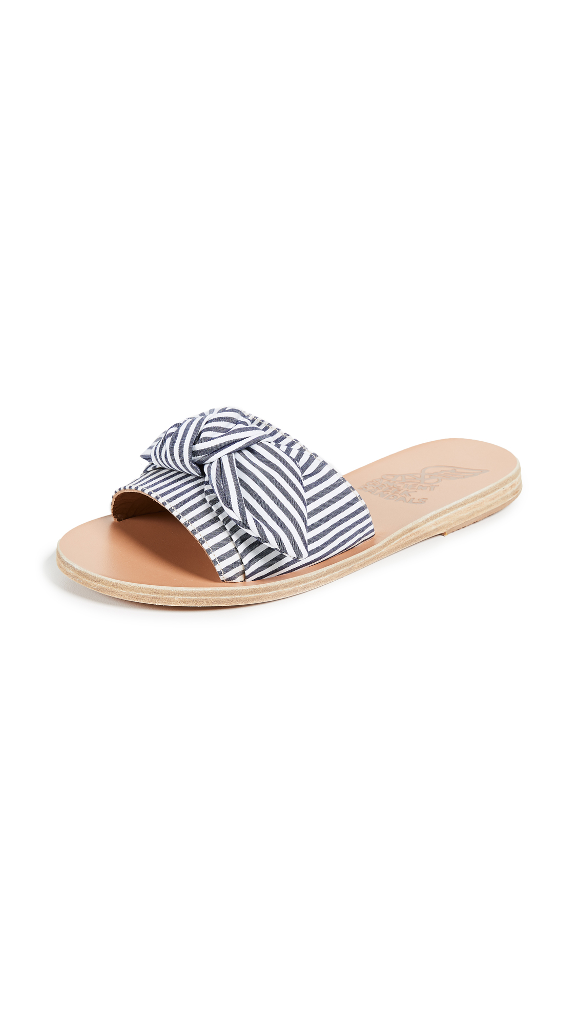 Ancient Greek Sandals Taygete Bow Slides - Stripes Black