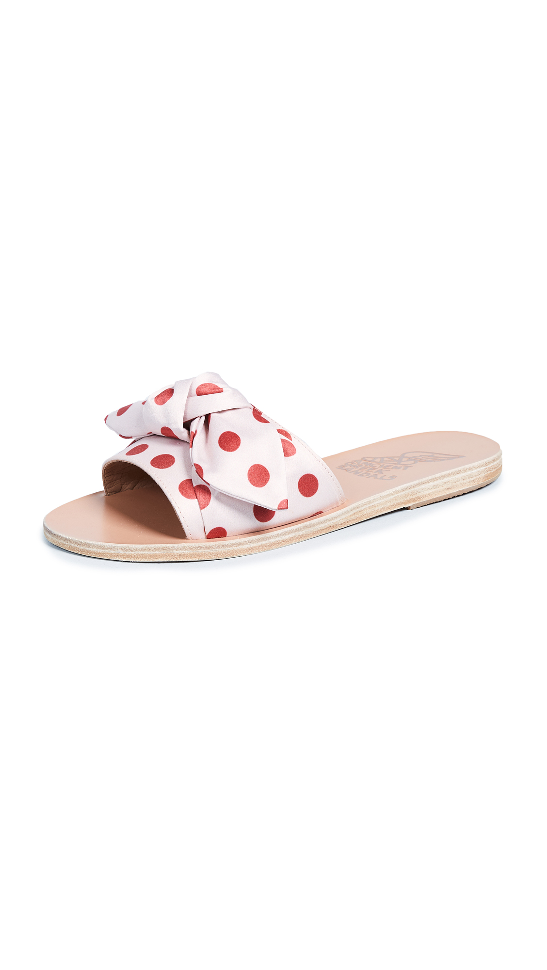 Ancient Greek Sandals Taygete Bow Slide Sandals - Pois Red