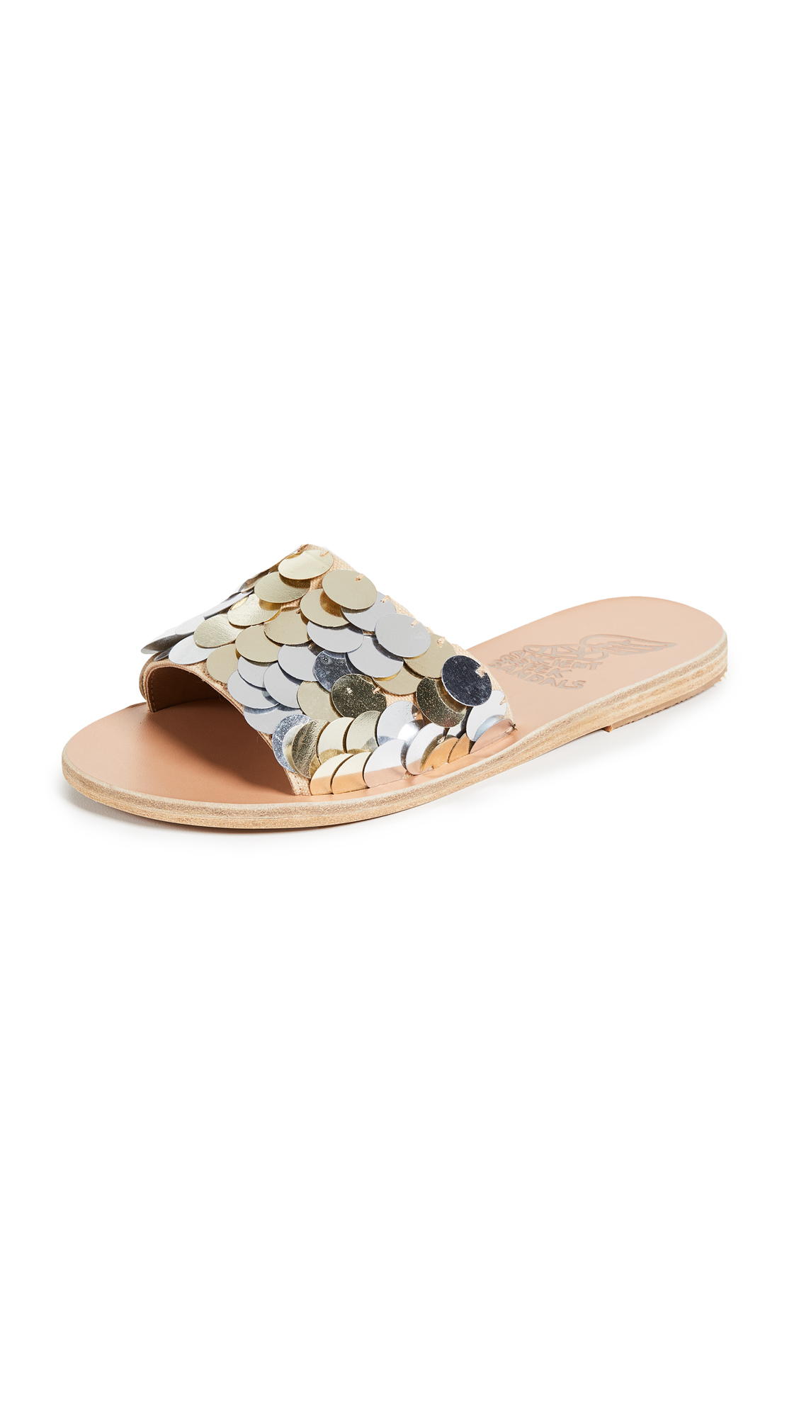 Ancient Greek Sandals Taygete Slides - Silver/Platinum