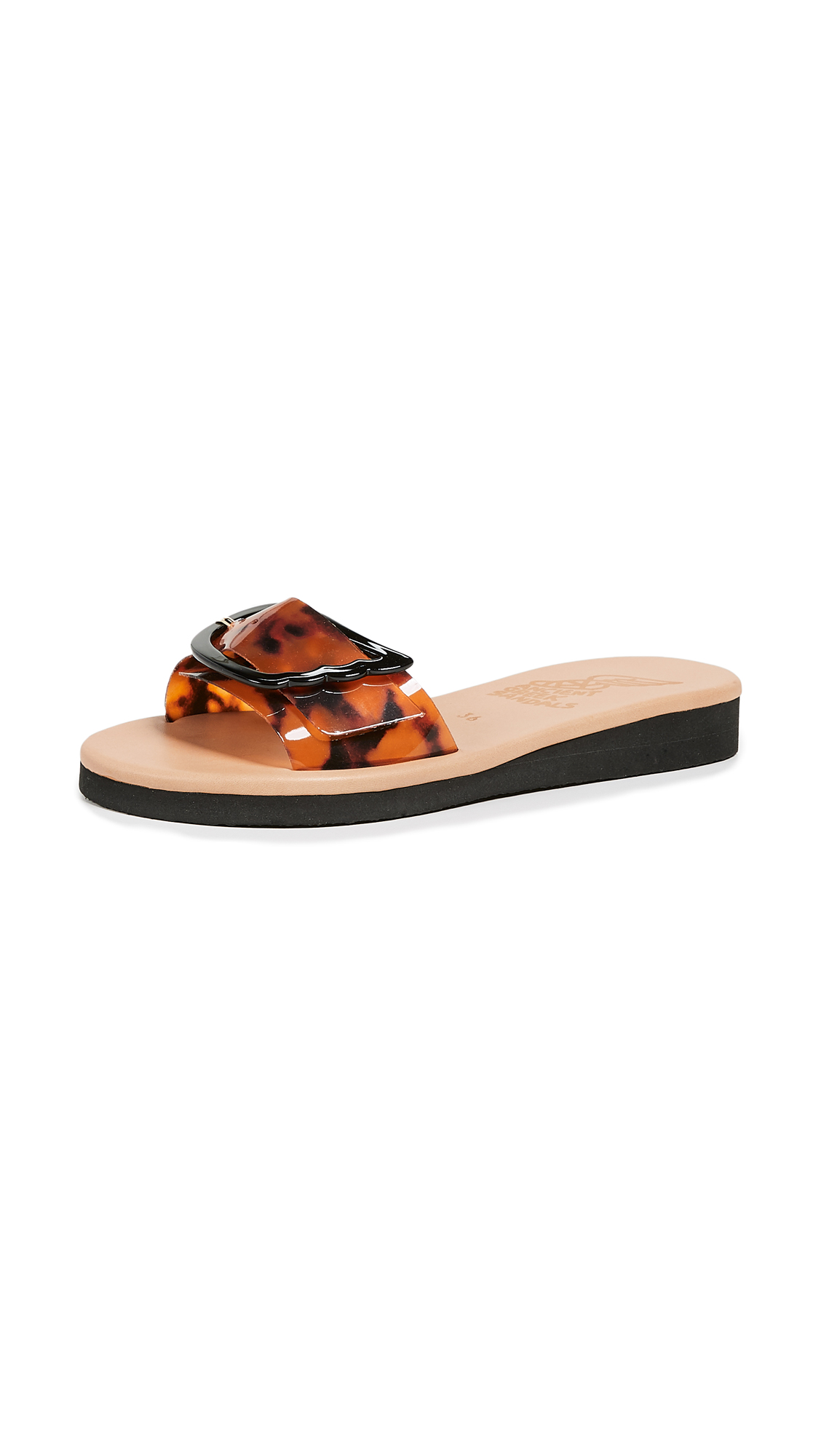 Ancient Greek Sandals Aglaia Slides - Tortoishell
