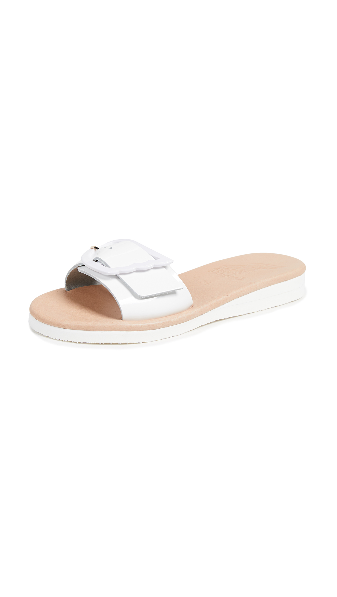 Ancient Greek Sandals Aglaia Slides - White
