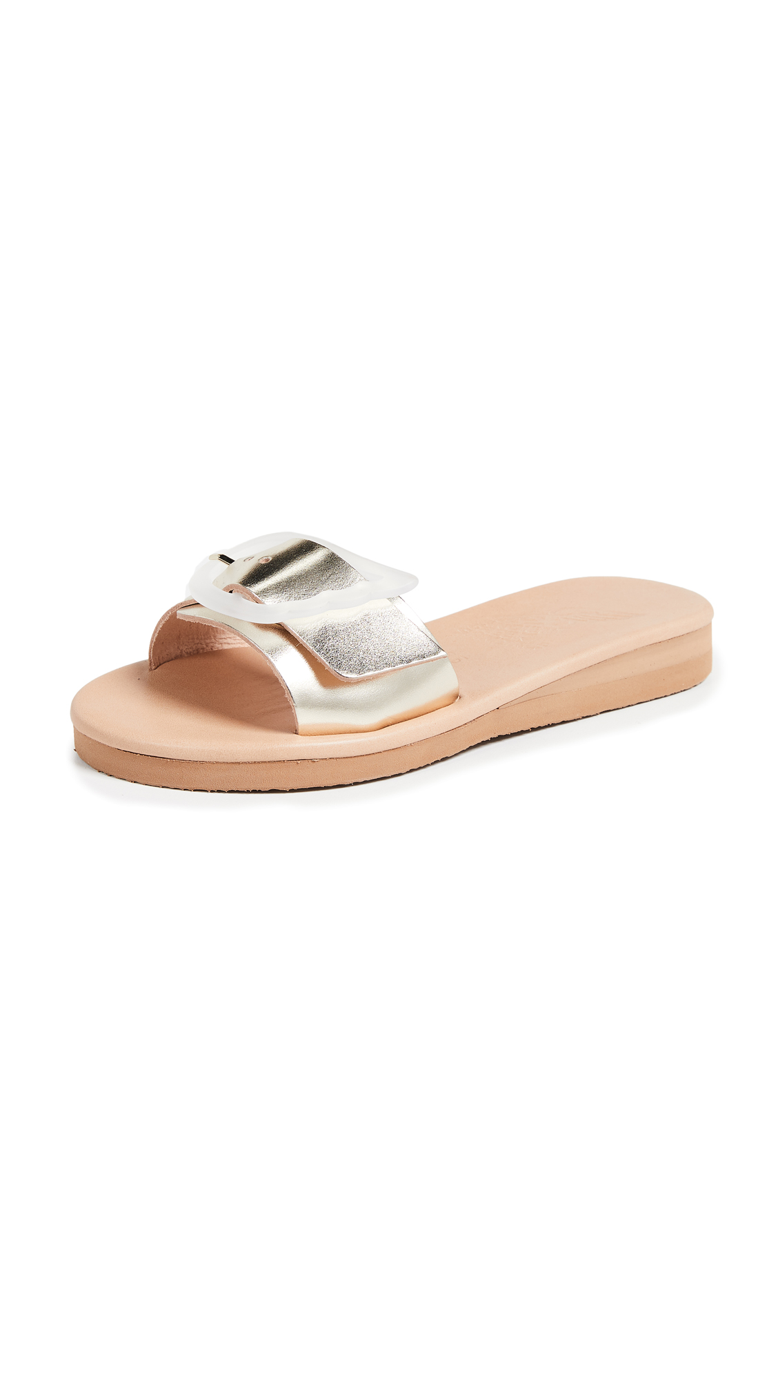 Ancient Greek Sandals Aglaia Slides - Platinum