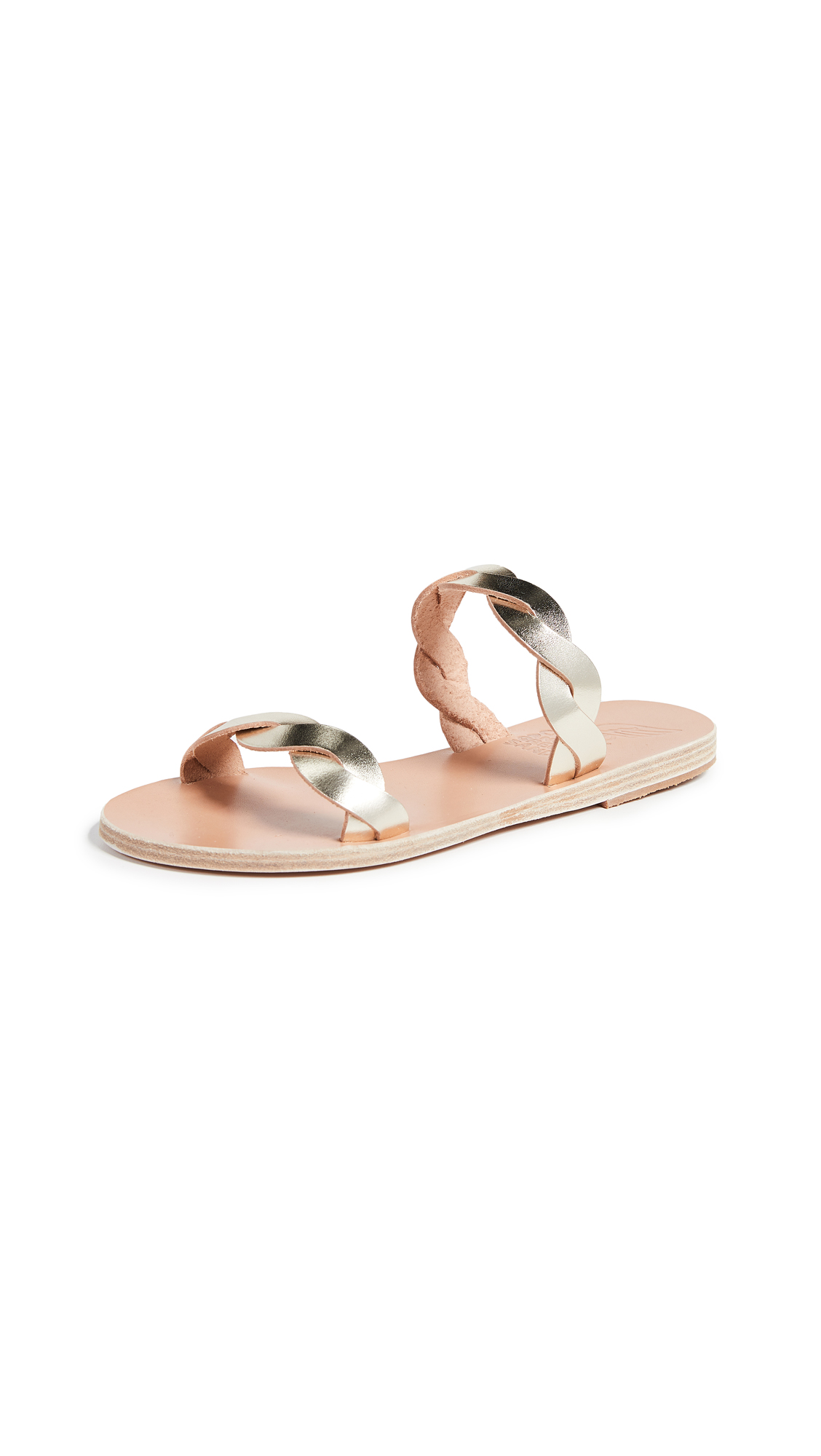 Ancient Greek Sandals Skiriani Slides - Platinum