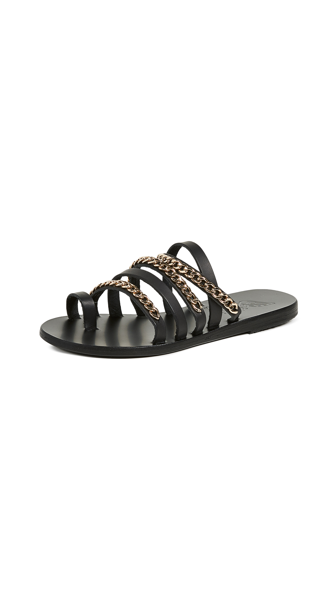 Ancient Greek Sandals Niki Chains Slide Sandals - Black/Gold