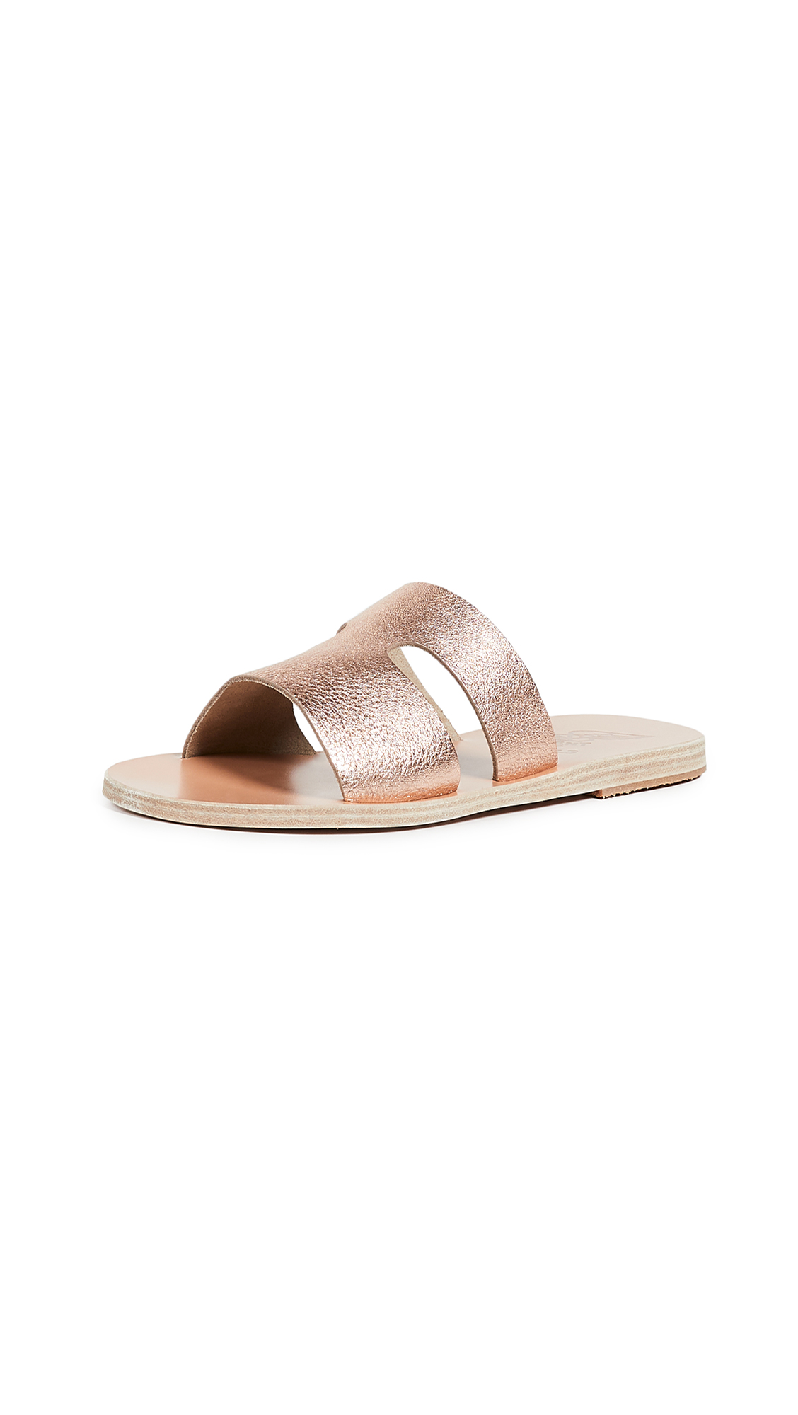 Ancient Greek Sandals Apteros Slide Sandals - Pink Metal/Sand