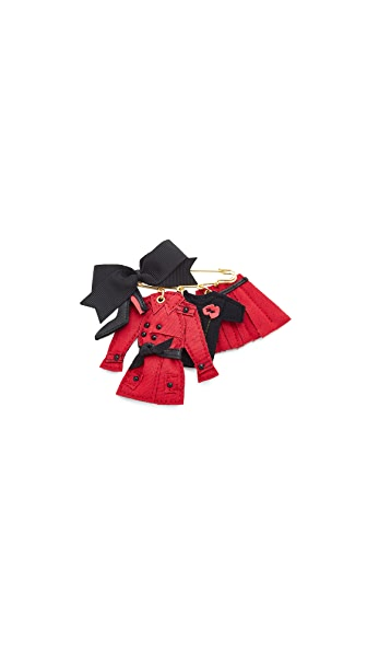 Anne Marie Herckes Catherine Brooch In Poppy Red