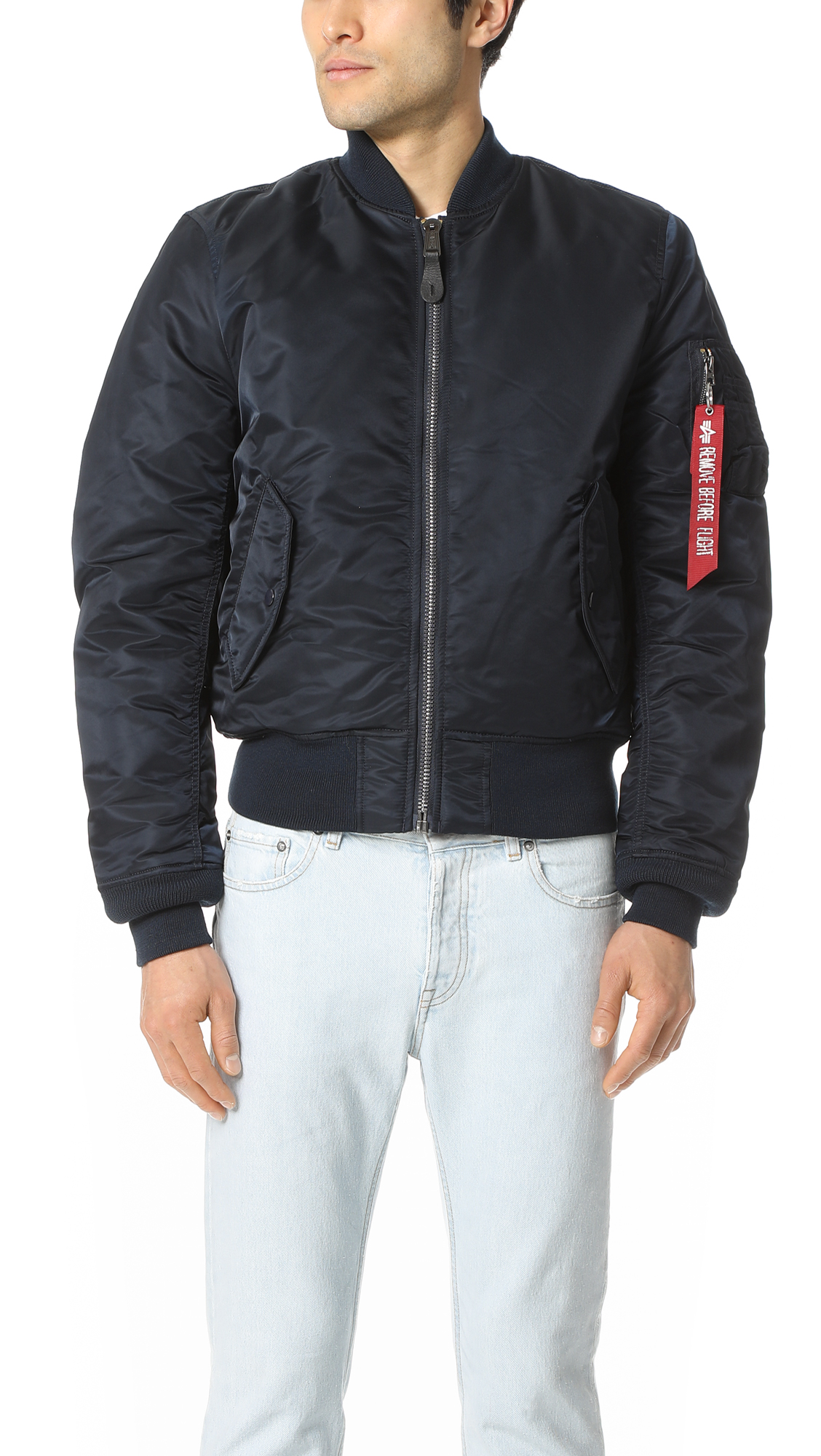 ALPHA INDUSTRIES Classic Zipped Bomber Jacket  in Blue