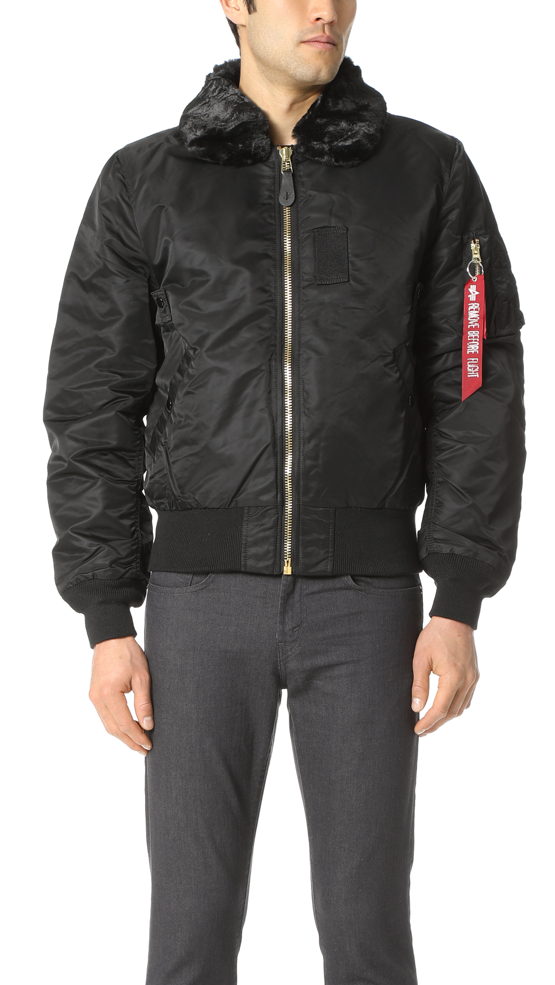 Alpha Industries B-15 Removable Faux Fur Collar Flight Jacket In Black c257ee4afb63b