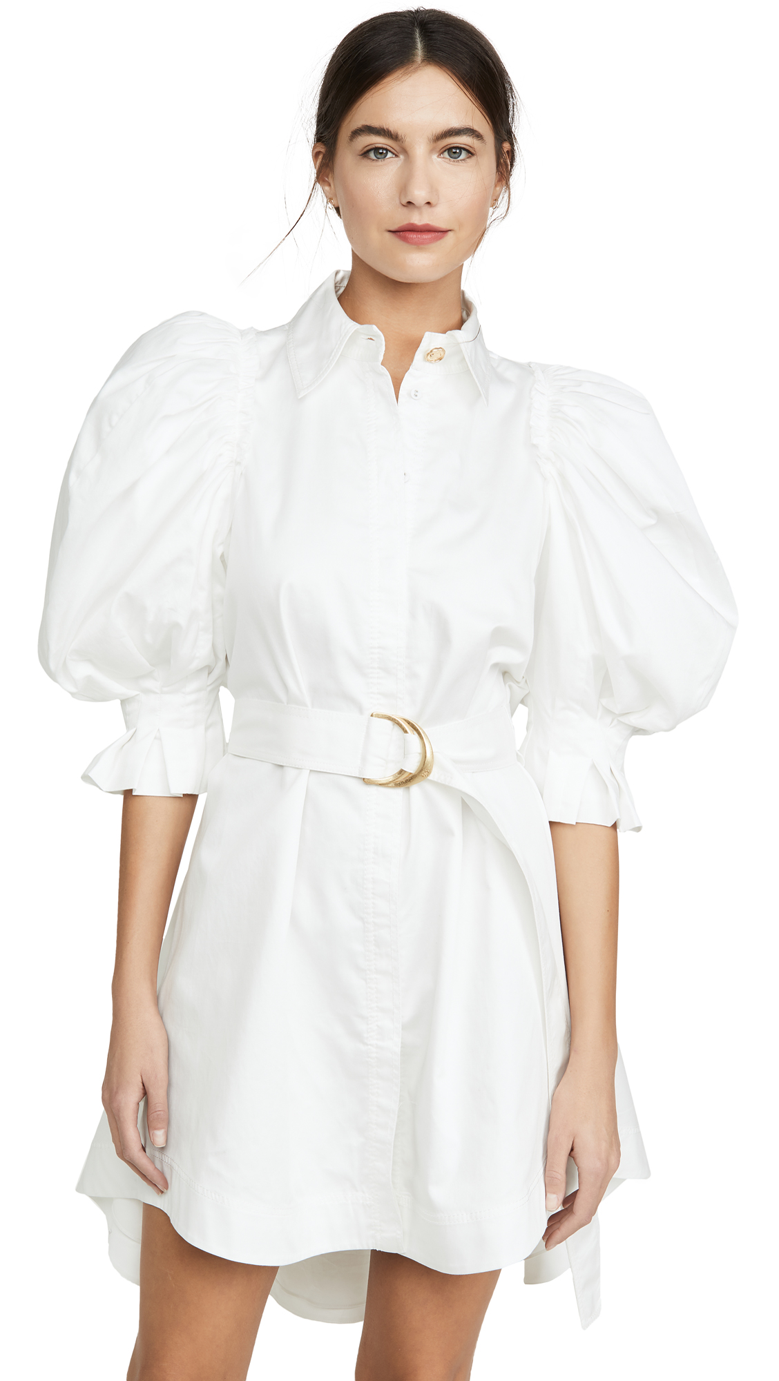 Buy Aje online - photo of Aje Eucalypt Puff Sleeve Shirt Dress
