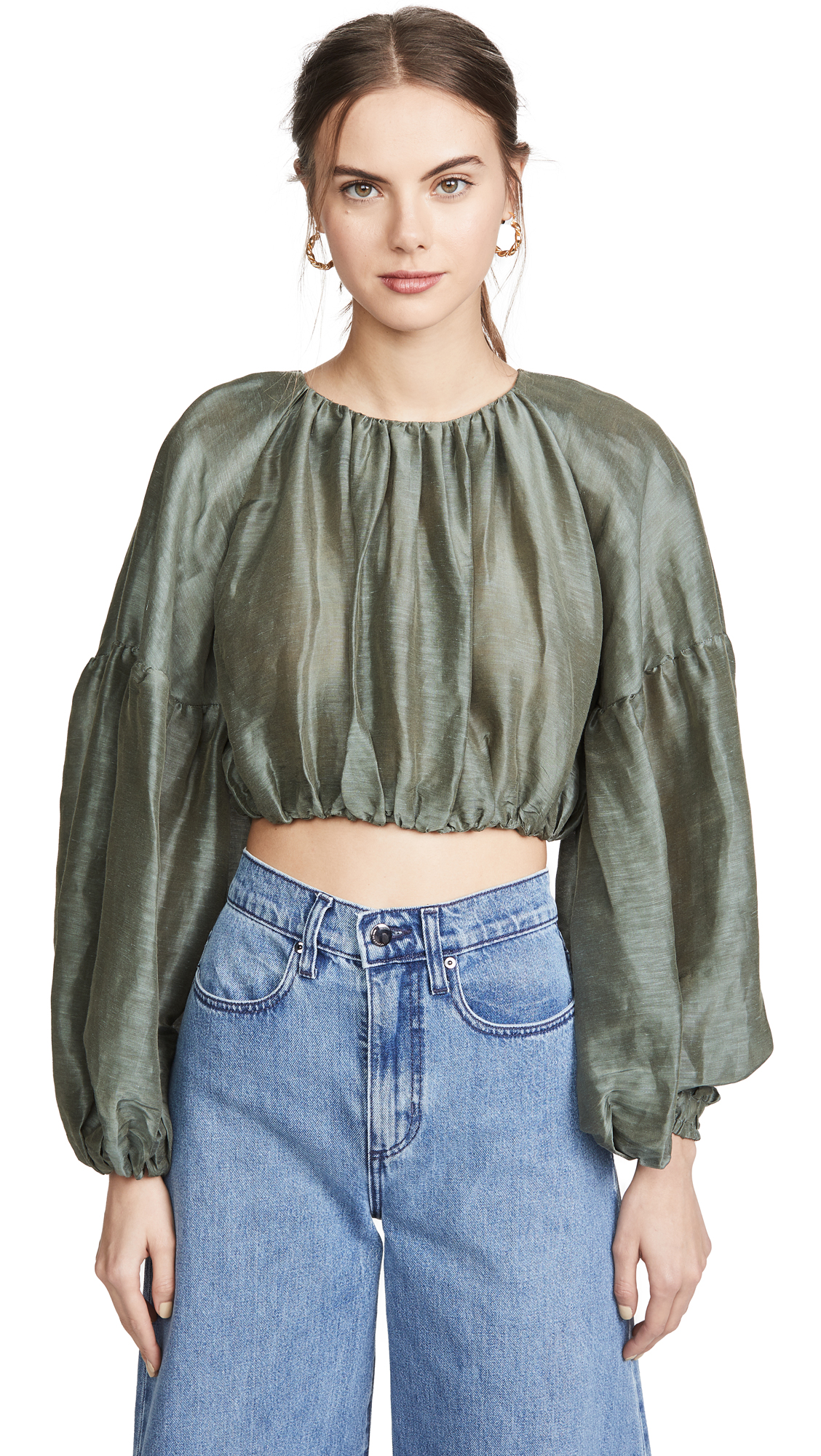 Buy Aje online - photo of Aje Eucalypt Blouson Crop Blouse