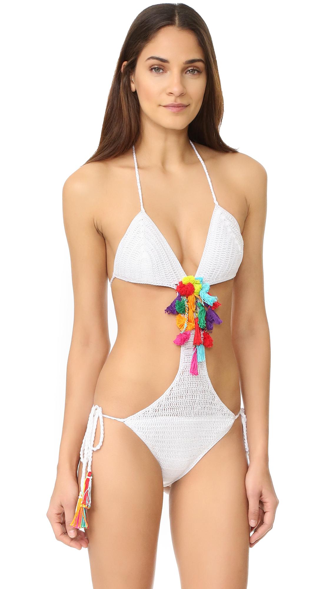 Anna Kosturova Pom Pom Monokini - White/Sorbet at Shopbop
