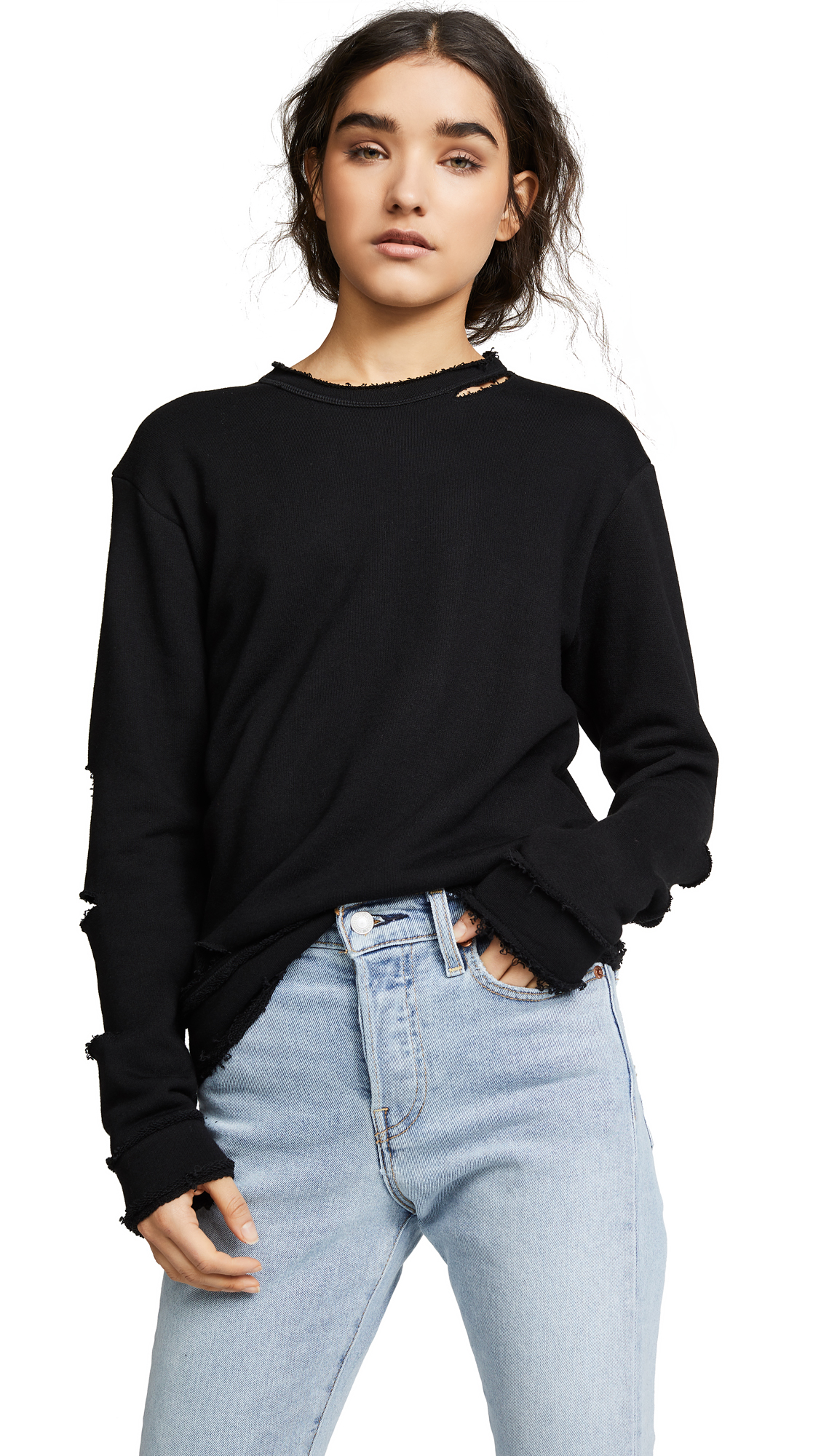ALALA Cypher Crewneck Slashed Cotton Pullover Sweatshirt in Black