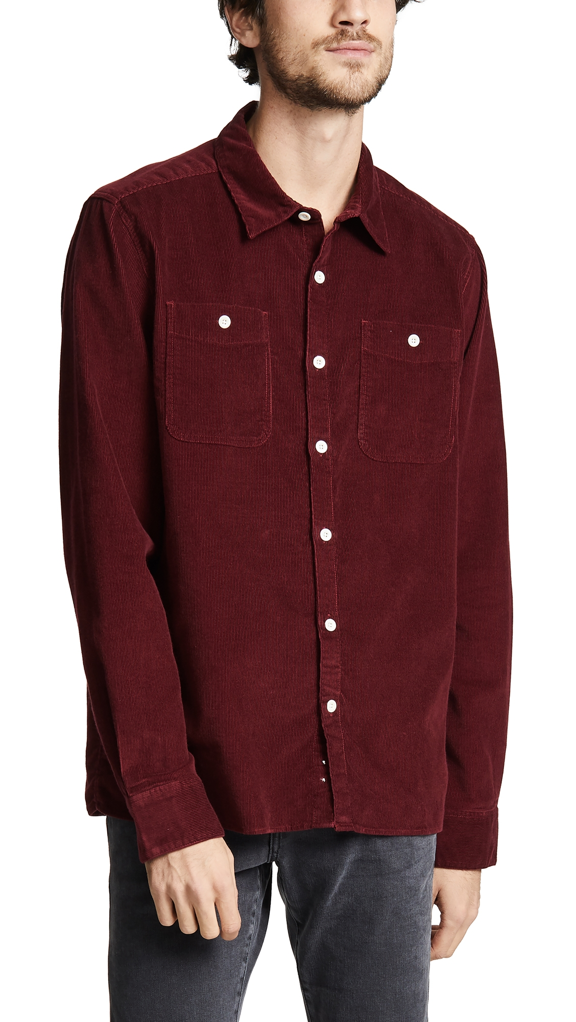 ALBAM Otto Cotton-Corduroy Shirt - Burgundy in Maroon