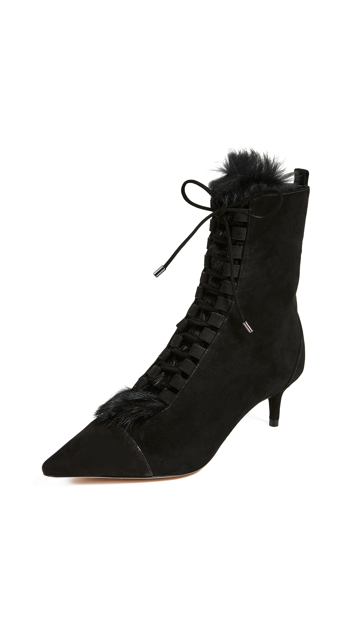 Alexandre Birman Millen Fur Booties - Black