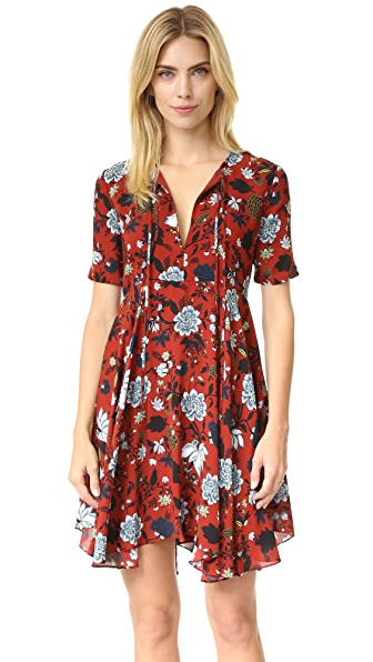 A.L.C. Sosta Dress - Red/Blue Multi